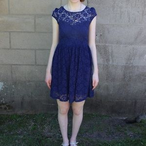 Dry Goods Navy Lace Cap Sleeve Dress